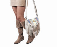 Girl wearing modern purse Royalty Free Stock Photo