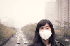 Girl in air pollution. Asian girl wearing mouth mask against haze air pollution in beijing Royalty Free Stock Photo