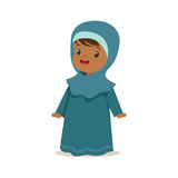 Girl wearing national costume of UAE, islamic woman culture colorful character vector Illustration Stock Photos
