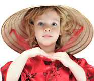 Girl wearing oriental costume Royalty Free Stock Photo
