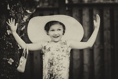 Girl Wearing Oversized Sun Hat - Vintage Royalty Free Stock Photography