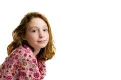 Girl wearing pajamas. Young girl wearing comfortable cozy flannel pajamas Royalty Free Stock Image