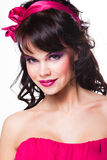 Girl with wearing pink satiny ribbon Stock Photos