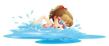 A girl wearing a pink swimwear swimming. Illustration of a girl wearing a pink swimwear swimming on a white background Royalty Free Stock Photos