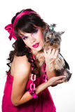 Girl Wearing Pink With Small Yorkshire Terrier Stock Image