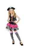 The girl wearing a pirate costume for Halloween. Royalty Free Stock Photo