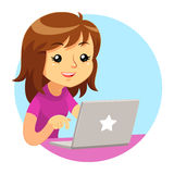 Girl Wearing Purple Shirt Using Grey Laptop Stock Photos