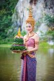 Girl Wearing Red Thai Traditional Dress Loy Krathong Royalty Free Stock Photo