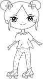 Girl wearing roller skate shoes coloring page Royalty Free Stock Images