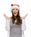 Girl wearing Santa Claus cap Royalty Free Stock Photo