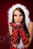 Girl Wearing Santa Claus Clothe Stock Image