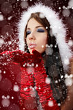 Girl Wearing Santa Claus Clothes Royalty Free Stock Photography