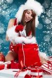 Girl Wearing Santa Claus Clothes Stock Image