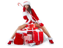 Girl wearing santa claus clothes Stock Photography