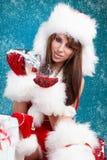 Girl Wearing Santa Claus Clothes Stock Photo