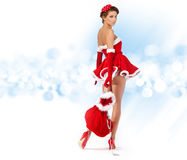 Girl wearing santa claus clothes Stock Photo