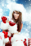 Girl wearing santa claus clothes  with christmas Royalty Free Stock Photography