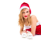 Girl wearing santa claus clothes with copy space Royalty Free Stock Photography