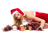 Girl wearing santa claus clothes with copy space Stock Photo