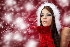 Girl Wearing Santa Claus Clothes On R Royalty Free Stock Photos