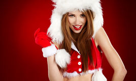 Girl wearing santa claus clothes Royalty Free Stock Photos