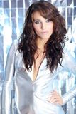 Girl wearing silver dress Stock Photo