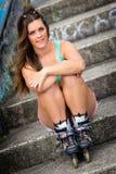 Girl Wearing Skates royalty free stock photo
