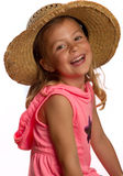 Girl wearing a straw hat Stock Images