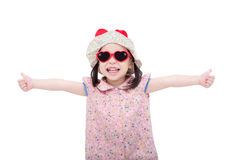 Girl wearing sunglasses and hat over white Stock Photos