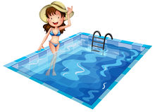 A girl wearing a swimsuit at the pool royalty free illustration