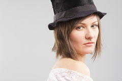 Girl wearing  top hat Stock Photo