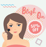 Girl wearing using blush on in her face sale discount cosmetics Stock Images