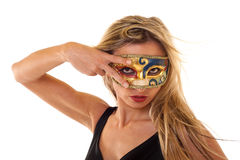 Girl wearing  a vintage mask Royalty Free Stock Images