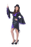 Girl wearing violet and black dress isolated on. Stock photography concept for usage Stock Photo