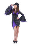 Girl wearing violet and black dress isolated on Stock Image