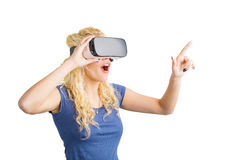 Girl  wearing virtual reality glasses Royalty Free Stock Images