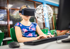 Girl wearing VR Virtual Reality Headset with Interface. Digital composite of Girl wearing VR Virtual Reality Headset with Interface Royalty Free Stock Photos