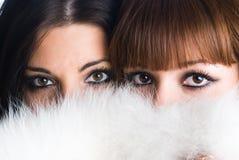 Girl wearing white fur Royalty Free Stock Images