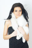 Girl wearing white fur Royalty Free Stock Photos