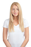 Girl wearing white t-shirt Royalty Free Stock Image