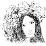 Girl wearing a wreath ink sketch Royalty Free Stock Image