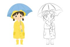 Girl in Raincoat Outline Cartoon Vector. A girl wearing yellow raincoat and holding a blue umbrella, and a girl in raincoat outline for coloring page cartoon Stock Image