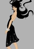 A girl wears in black royalty free illustration