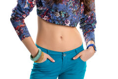 Free Girl Wears Floral Crop Top. Royalty Free Stock Images - 74157449
