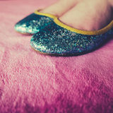 Girl Wears Sequined Party Shoes Stock Photo