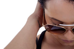 Girl wears sunglasses. Royalty Free Stock Image