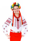 Girl wears Ukrainian national dress Royalty Free Stock Photography