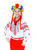 Girl wears Ukrainian national dress Stock Images