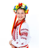 Girl wears Ukrainian national dress Stock Photo
