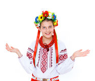 Girl wears Ukrainian national dress Stock Photography
